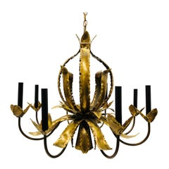 Eight-Arm Torch Cut Brutalist Chandelier with Down Light