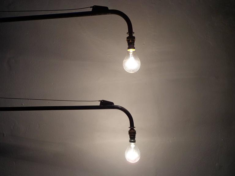 Mid-Century Modern Jean Prouvé Style Swing Jib Lamp For Sale