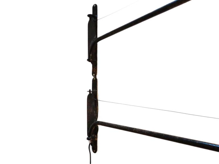 Jean Prouvé Style Swing Jib Lamp, French Mid-Century Modern 1950s In Good Condition For Sale In Amsterdam, NL