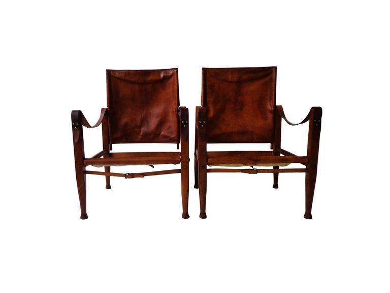 "Scandinavian Modern Pair of Kaare Klint ""Safari Chairs"" in Cognac Niger leather for Rud Rasmussen For Sale"