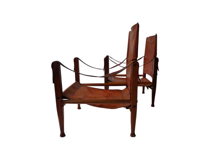 "Danish Pair of Kaare Klint ""Safari Chairs"" in Cognac Niger leather for Rud Rasmussen For Sale"