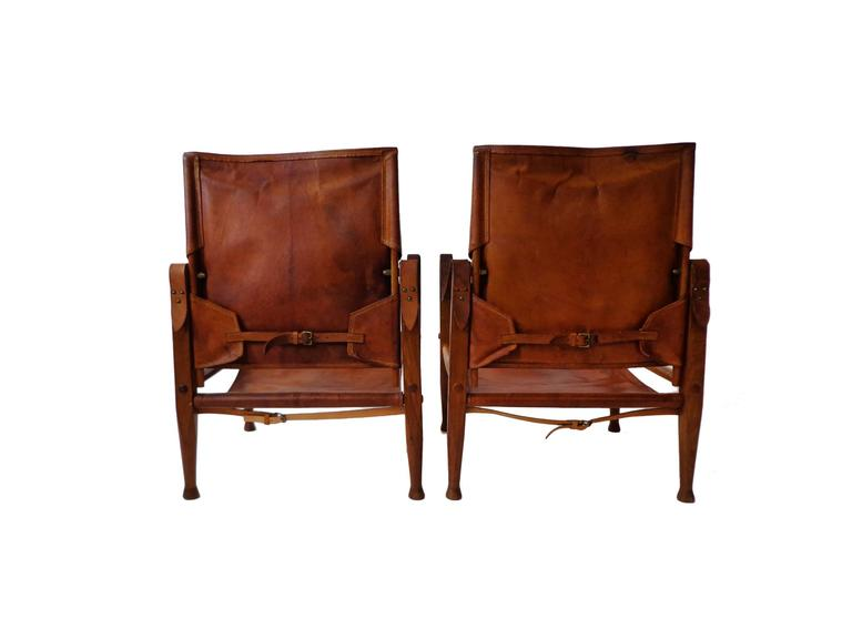 """Pair of Kaare Klint """"Safari Chairs"""" in Cognac Niger leather for Rud Rasmussen In Good Condition For Sale In Amsterdam, NL"""