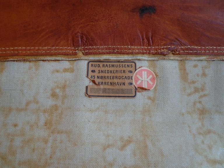 """Pair of Kaare Klint """"Safari Chairs"""" in Cognac Niger leather for Rud Rasmussen 6"""