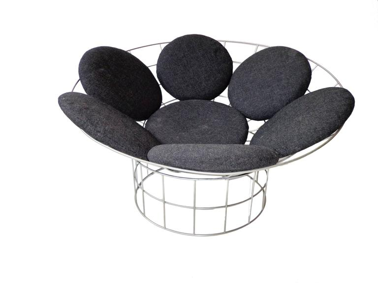 Charming Scandinavian Modern Danish Circular Grey Peacock Lounge Chair By Verner  Panton For Plus Linje,