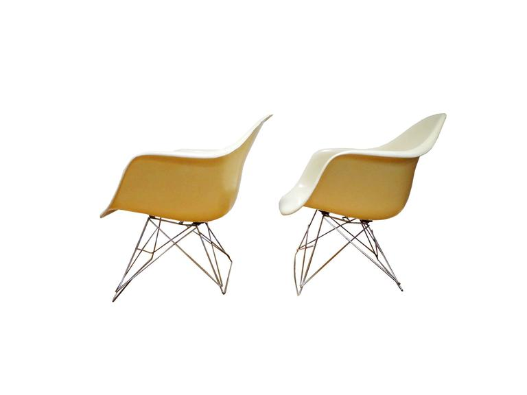Mid Century Modern 1950u0027s Pair Off White Charles And Ray Eames Armchairs  Lar For