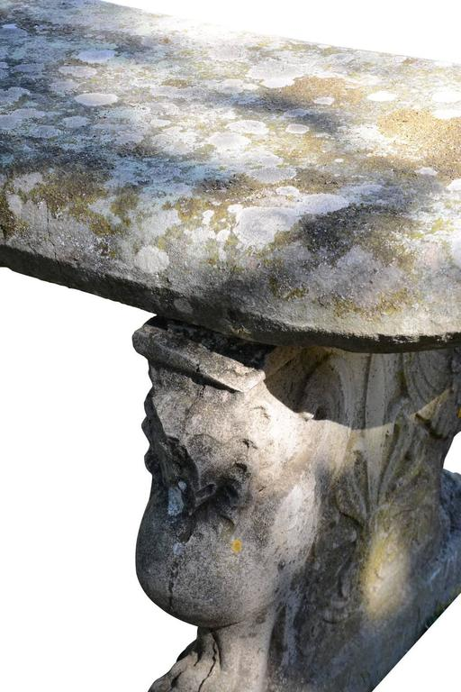 Renaissance Style Stone Bench, 19th Century In Good Condition For Sale In Richebourg, FR