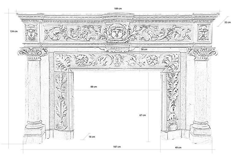 Dated from the 19th century, circa 1890, rare Renaissance style stone and hard stone inlay fireplace. The lintel delicately carved of a frieze of egg pattern and foliage is adorned at the center of a putto in step. Columns with ionic capitals and