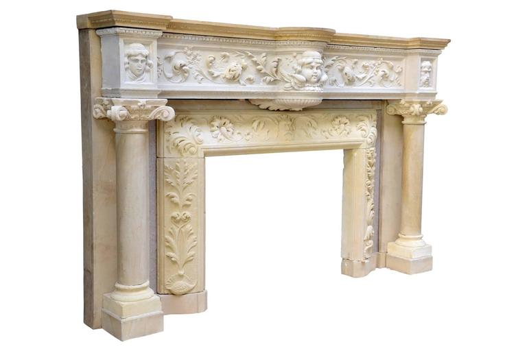 French Rare Renaissance Style Stone Fireplace, 19th Century For Sale