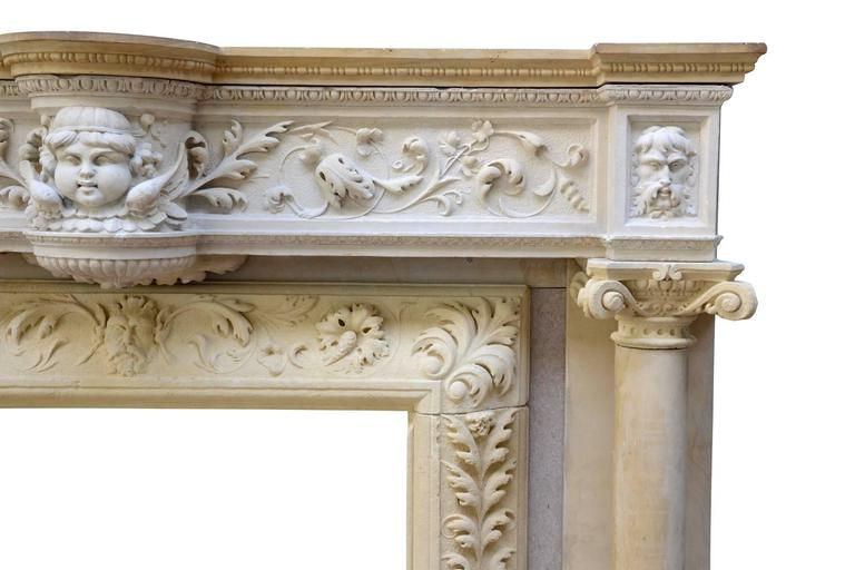 Carved Rare Renaissance Style Stone Fireplace, 19th Century For Sale