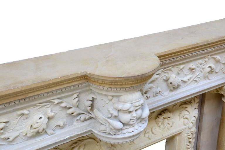 Rare Renaissance Style Stone Fireplace, 19th Century For Sale 1