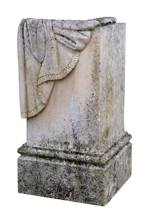 Carved Stone Base : Stone base with carved draped decor th century at stdibs