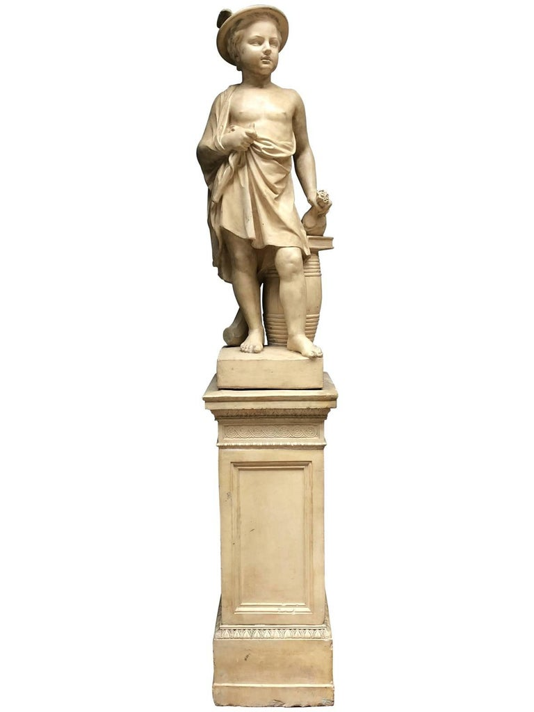 French Pair of Neoclassical Terracotta Statue Representing Vulcan and Mercury For Sale