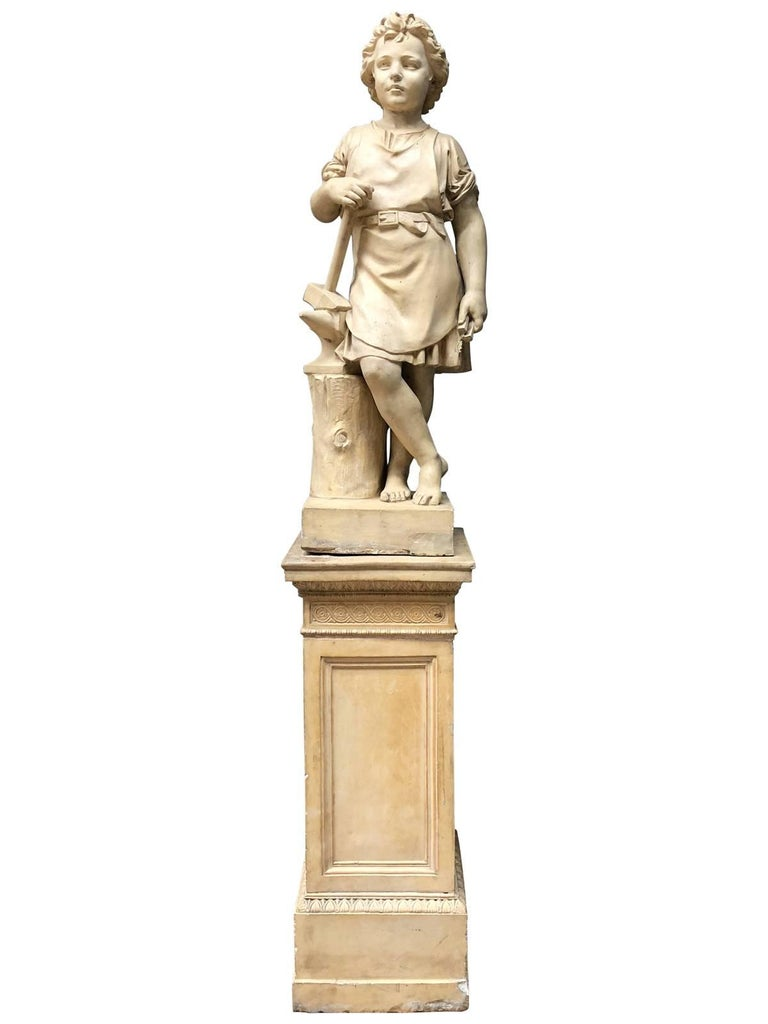 Pair of Neoclassical Terracotta Statue Representing Vulcan and Mercury 2