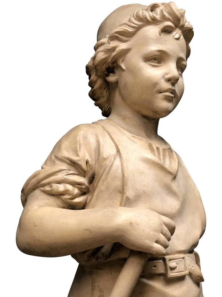 Pair of Neoclassical Terracotta Statue Representing Vulcan and Mercury 6