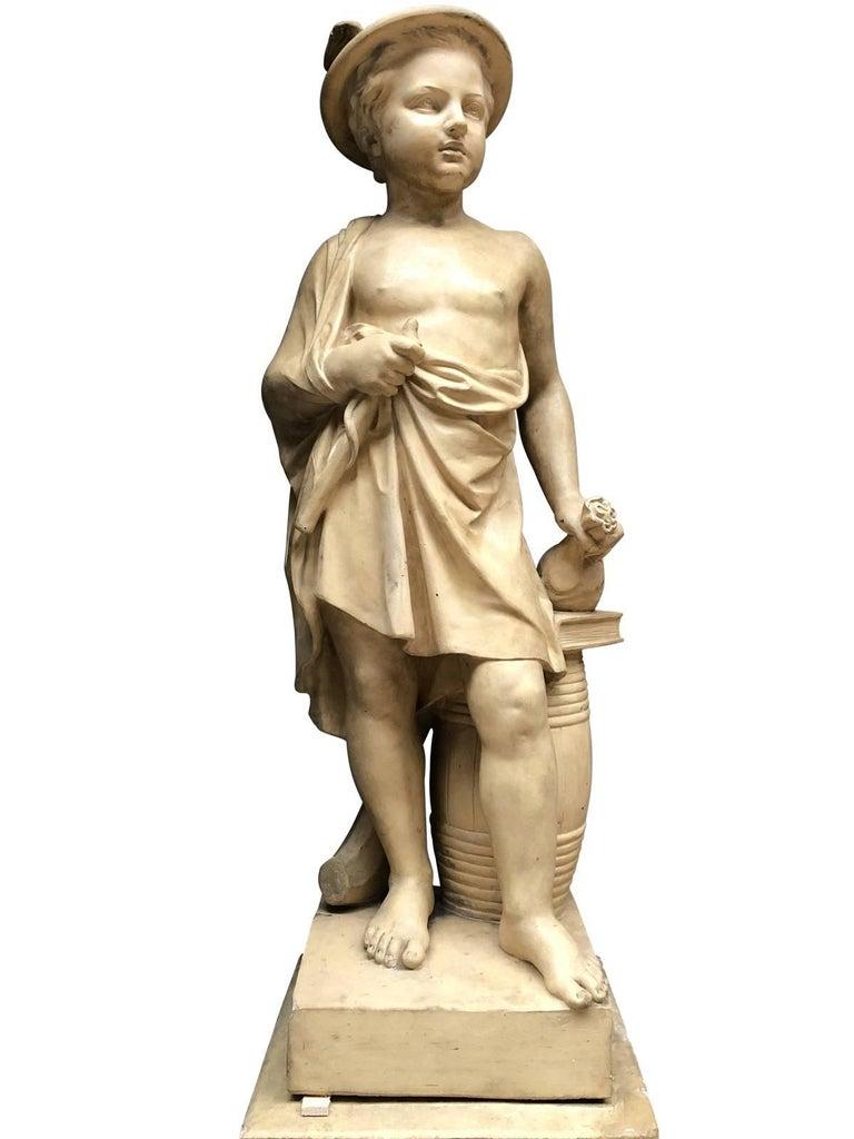 Pair of Neoclassical Terracotta Statue Representing Vulcan and Mercury 5