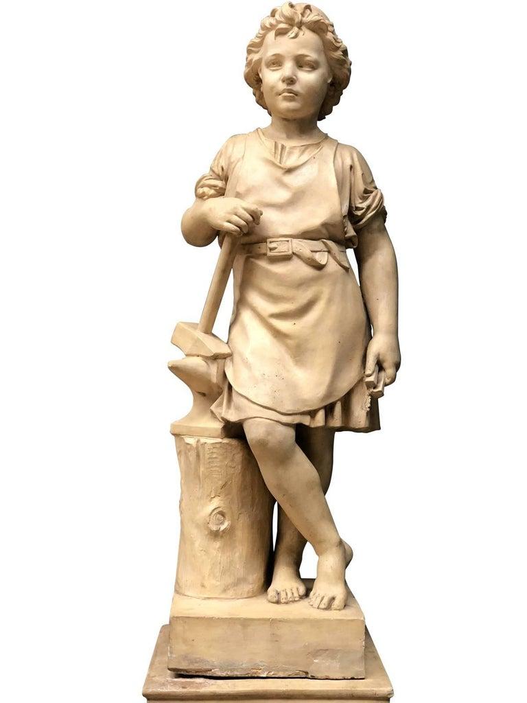 Pair of Neoclassical Terracotta Statue Representing Vulcan and Mercury 4