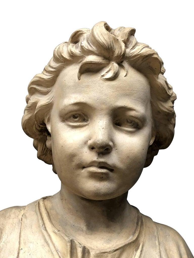 Pair of Neoclassical Terracotta Statue Representing Vulcan and Mercury For Sale 2