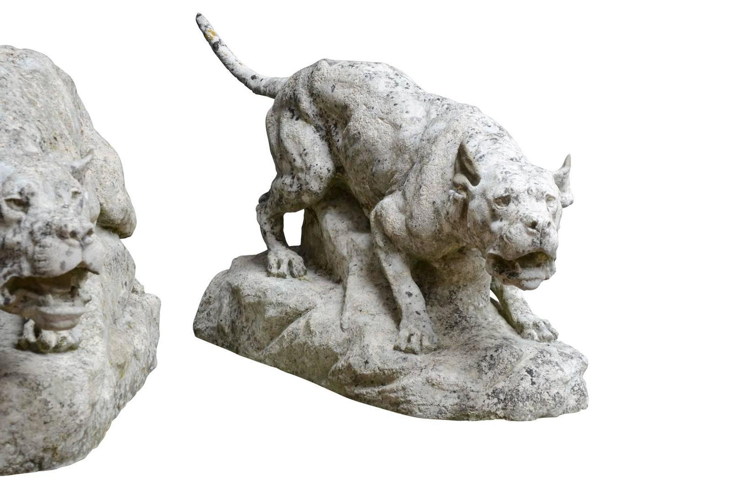 Imposing stone pair of dogs carved by thomas francois