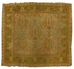 Antique Turkish Oushak Rug with Cypress Trees