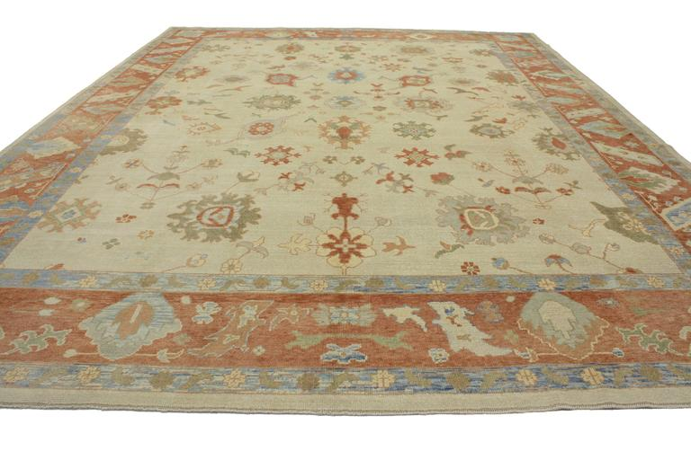 Hand-Knotted Modern Turkish Oushak Rug with Transitional Style in Orange and Blue For Sale