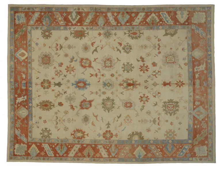Modern Turkish Oushak Rug with Transitional Style in Orange and Blue In Excellent Condition For Sale In Dallas, TX