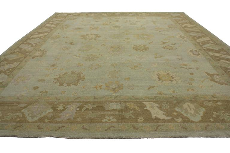 Hand-Knotted Modern Turkish Oushak Rug with Transitional Style in Neutral Colors For Sale