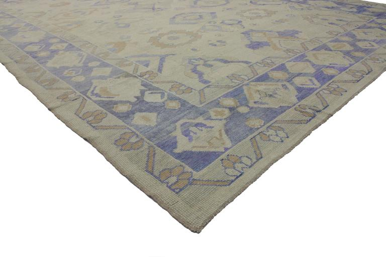 51613 Modern Turkish Oushak Area Rug with Transitional Style. Providing elements of wanderlust and functional versatility, this modern Turkish Oushak rug features transitional style in Majorelle Blue. Anyone who has visited Jardin Majorelle, the