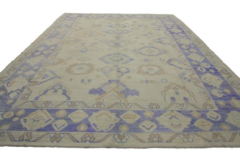 Hand-Knotted Modern Turkish Oushak Area Rug with Transitional Style For Sale