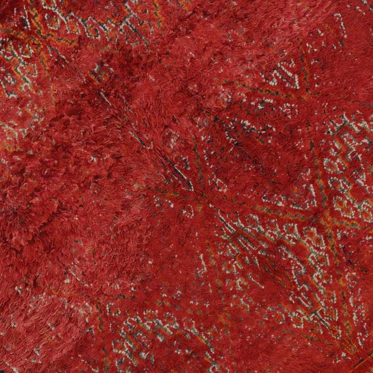 Mid Century Modern Style Red Berber Moroccan Rug With