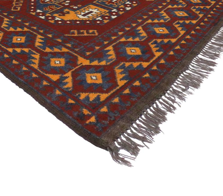Vintage Afghan Rug With Modern Tribal Style For Sale At