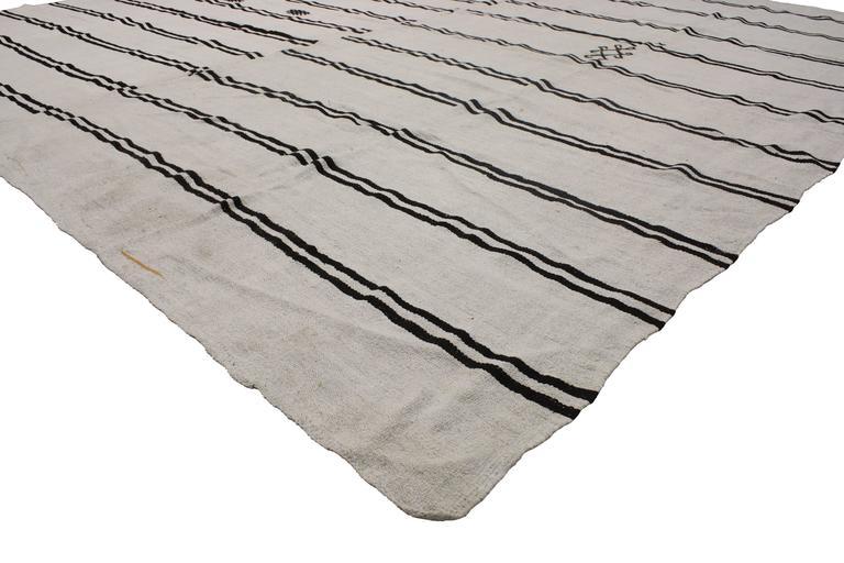 51835 Modern Ivory Black Kilim Rug With Stripes Flat Weave Area