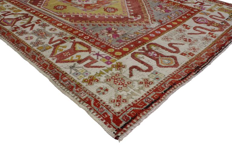 Vintage Turkish Oushak Rug With Modern Tribal Style For