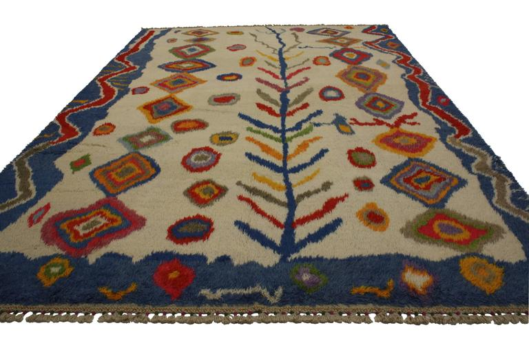 Hand-Knotted Modern Turkish Tulu Shag Rug with Contemporary Abstract Tribal Style For Sale