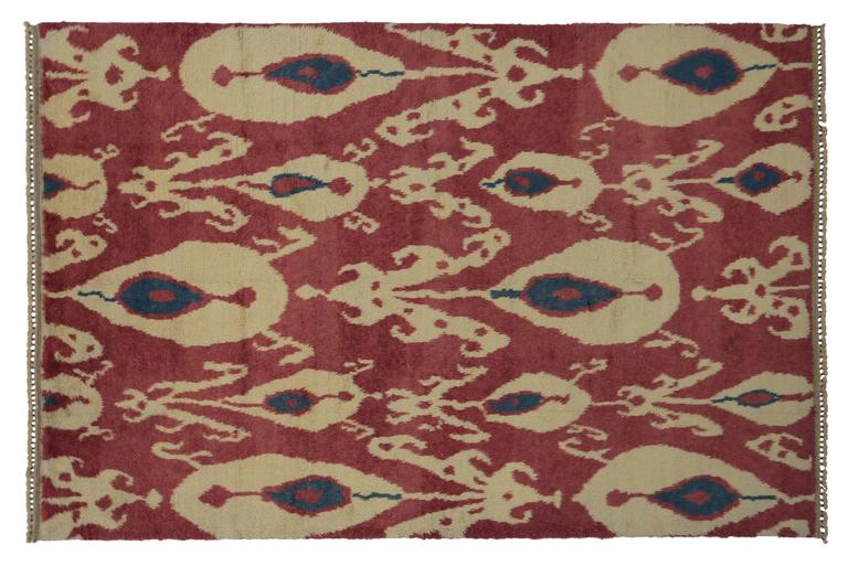 Wool New Turkish Tulu Shag Area Rug with Contemporary Abstract Ikat Pattern For Sale