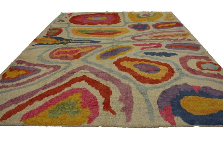Hand-Knotted Modern Turkish Tulu Shag Rug with Contemporary Abstract Style For Sale