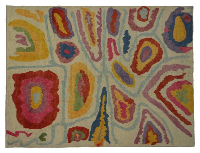 Angora Modern Turkish Tulu Shag Rug with Contemporary Abstract Style For Sale