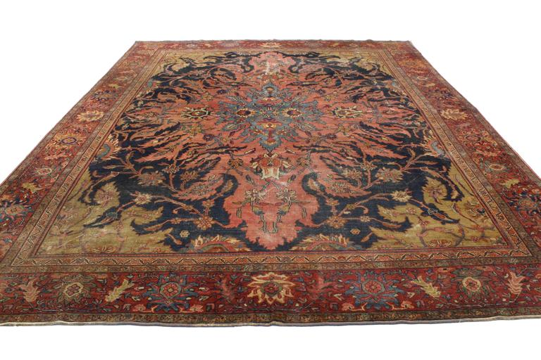 Sarouk Farahan Antique Rug With Modern Industrial Style Persian Area For Sale