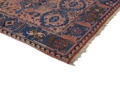 Antique Soumak Runner in Pink and Blue with Modern Traditional Style