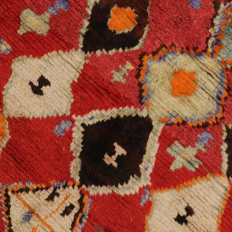 Mid-Century Modern Vintage Berber Moroccan Rug with Tribal Design 4