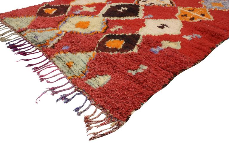 Mid-Century Modern Vintage Berber Moroccan Rug with Tribal Design 2
