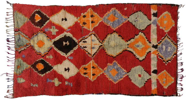 Mid-Century Modern Vintage Berber Moroccan Rug with Tribal Design 6