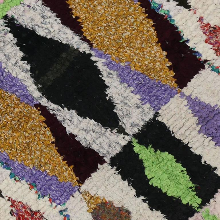 Moroccan Boucherouite Rug For Sale At 1stdibs: Vintage Berber Boucherouite Azilal Moroccan Rug With Boho