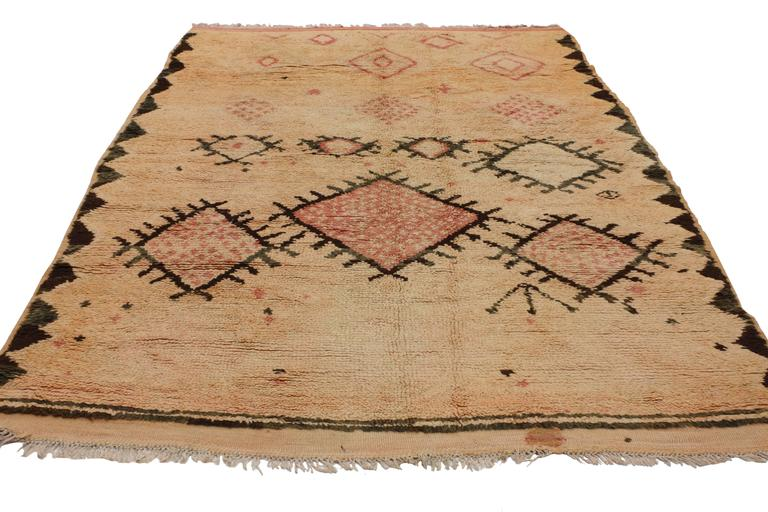 Mid-Century Modern Vintage Berber Moroccan Rug with Tribal Design 3
