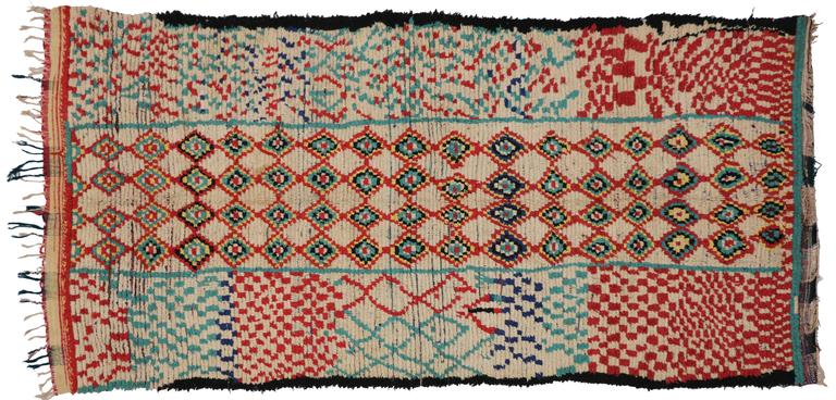 Mid-Century Modern Vintage Berber Moroccan Rug with Tribal Design 2