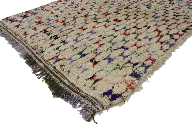 Vintage Berber Moroccan Rug with Abstract Tribal Design 2