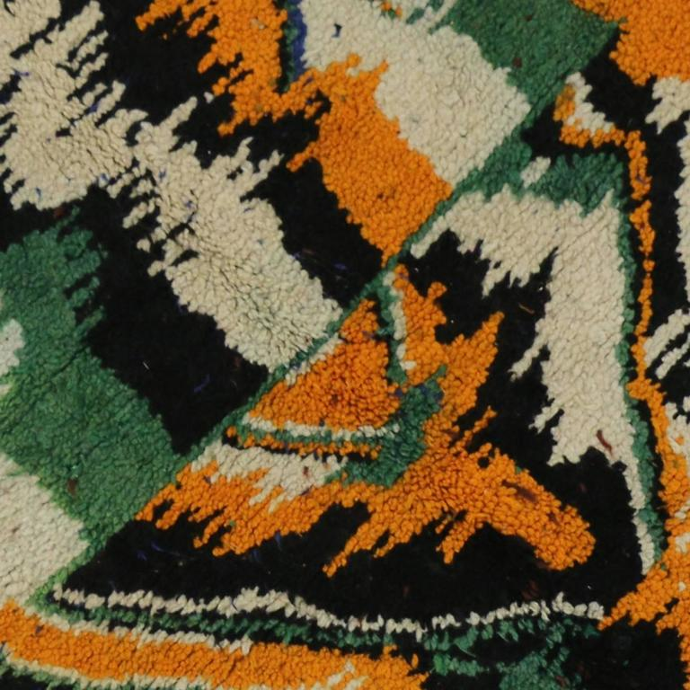 Hand-Knotted Vintage Berber Moroccan Rug with Contemporary Abstract Design For Sale