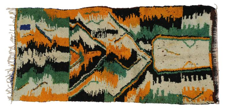 Wool Vintage Berber Moroccan Rug with Contemporary Abstract Design For Sale