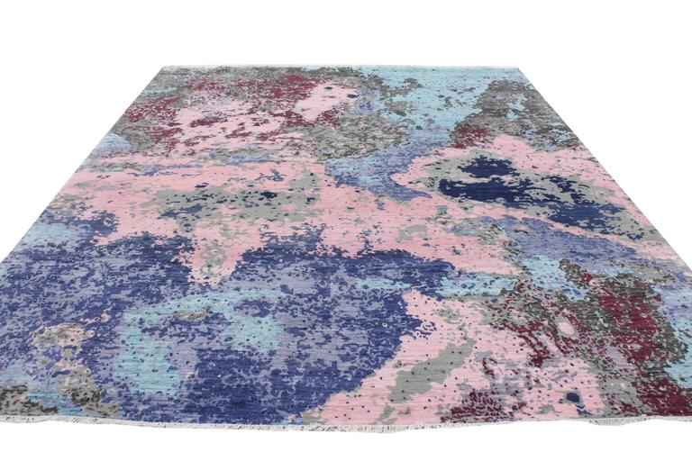 507a5d6882a Indian New Contemporary Abstract Area Rug with Post-Modern Expressionist  Memphis Style For Sale