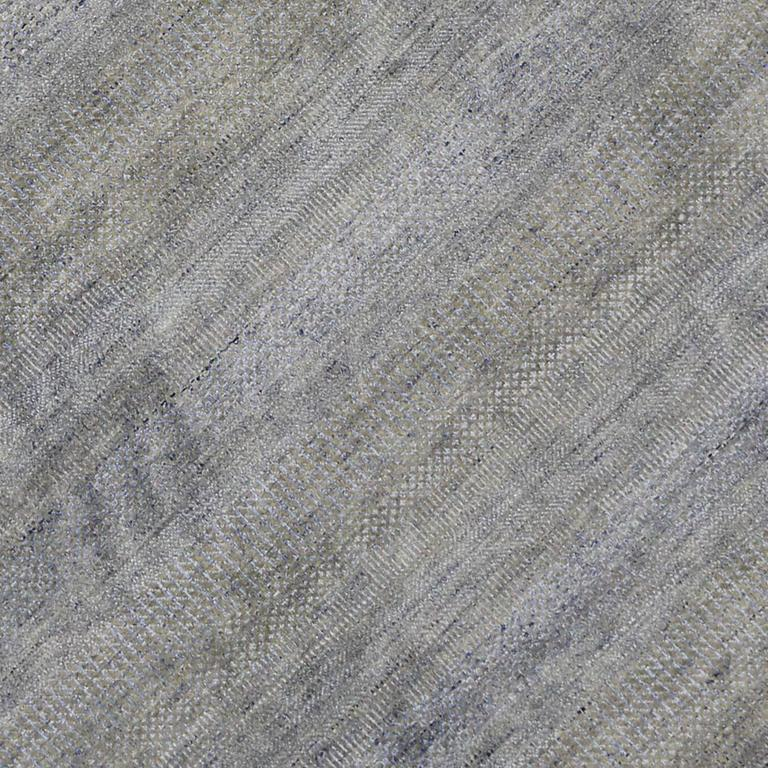Hand-Knotted New Contemporary Transitional Gray Area Rug with Modern International Style For Sale