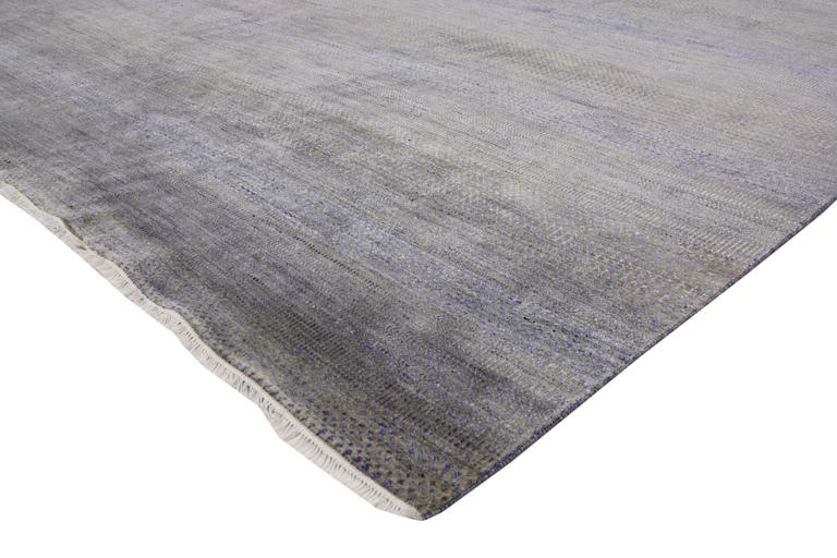 30332 New Contemporary Transitional Gray Area Rug with Modern International Style 09'00 x 12'02. Striking in its style and delicate beauty, this transitional gray area rug features a subtle geometric pattern with contemporary minimalist style. The